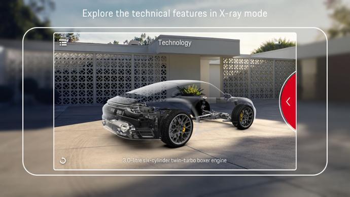 Mit dem AR-Röntgenblick schaut man dem Porsche unter die Verkleidung. Bild: Porsche