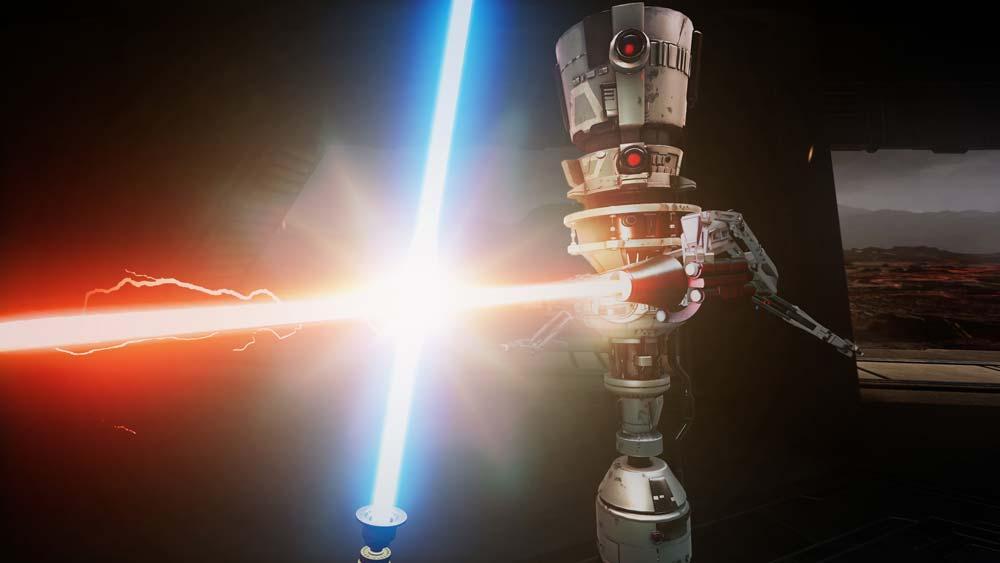 Das mit Abstand beste Spielelement von Vader Immortal sind die Lichtschwertkämpfe. Abseits der Handlung könnt ihr euch in einem Dojo mit kleinen Trainingsdrohnen anlegen. Das macht Spaß. Bild: Disney