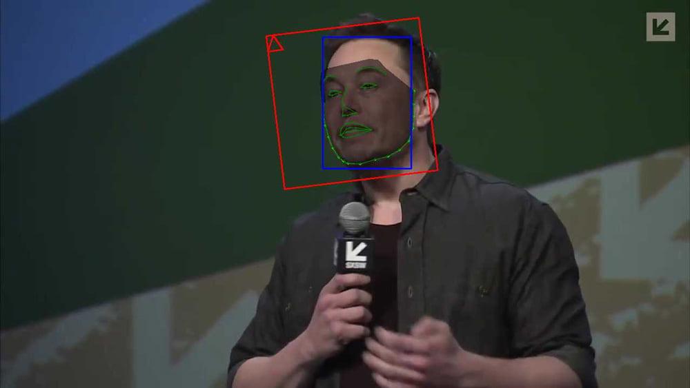 Elon Musk mit Gesichtserkennung