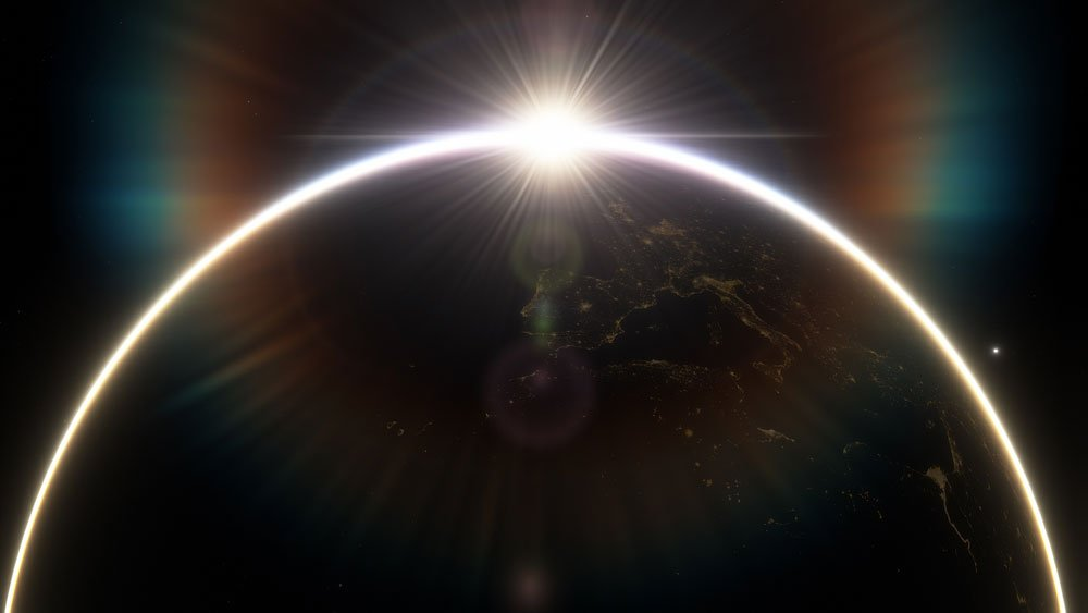 Sonnenaufgang hinter der Erde.