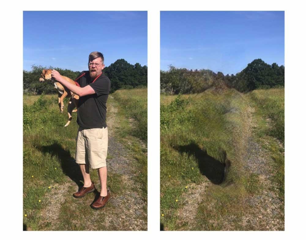 Der Mensch reißt das Tier mit ins Nichts der KI. Ein Symbolbild für die Zukunft - oder nur ein misslungener Kameratrick? Bild: Bye Bye Camera