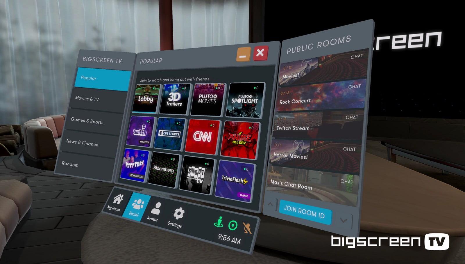 Bigscreen TV: Social-VR-App bietet jetzt 50+ Fernsehkanäle