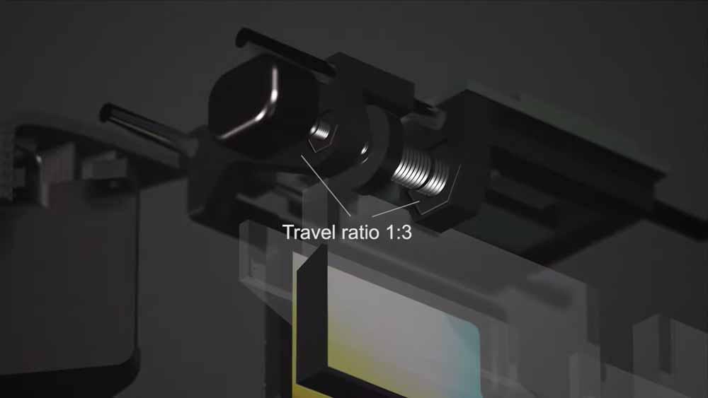 Die motorisierte Schraube, die das Display nach links und rechts verschiebt. Bild: Nvidia