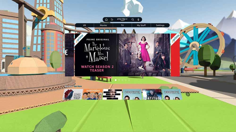 Prime Video VR spielt in erster Linie 2D-Videos auf der großen Kinoleinwand ab. Zum Start gibt's außerdem zehn ausgewählte 360-Videos. Bild: Amazon