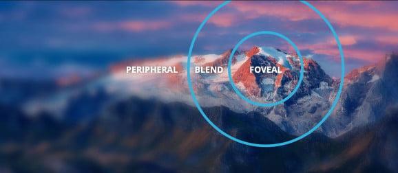 Beim Foveated Rendering wird nur der Fokuspunkt des Nutzers mit allen Details berechnet. Zum Rand hin werden grafische Details und Auflösung reduziert. Bild: Tobii