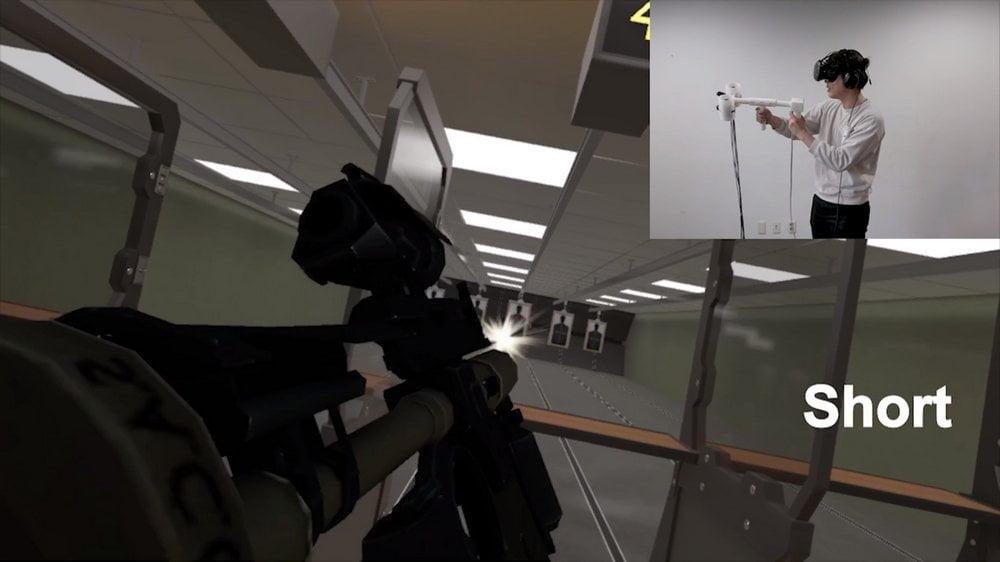 Demo des Aero-Plane Haptik-Controllers an einem virtuellen Schießstand