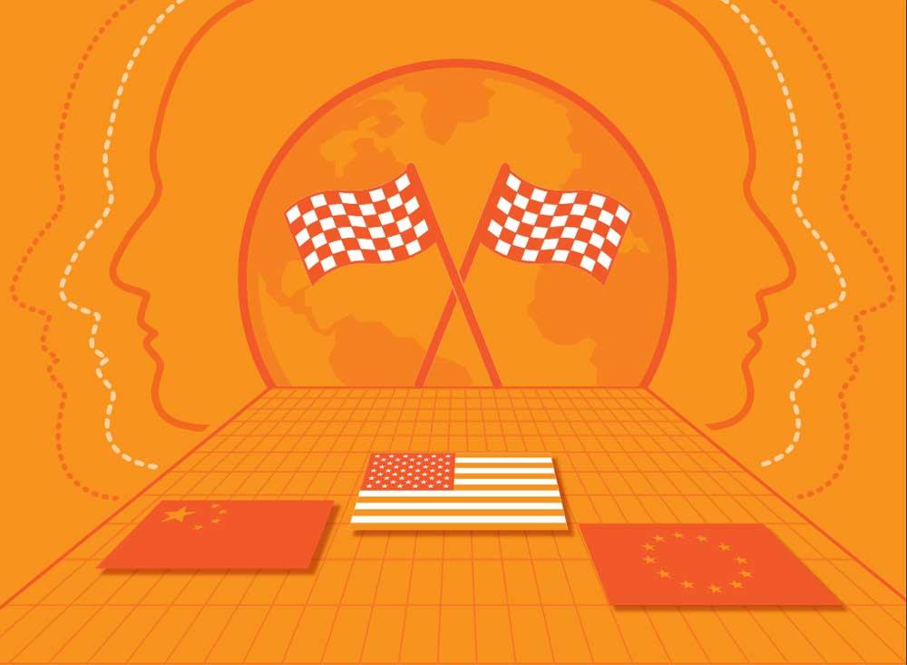 """Eine neue Studie des """"Center for Data Innovation"""" zeigt, dass die EU den Anschluss im KI-Wettrennen an USA und China verlieren könnte."""