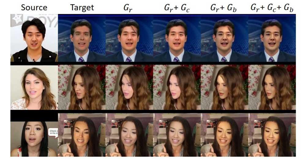 Auf dem Bild zu sehen: Es braucht alle Netzwerke, um das Gesicht zu kopieren, die Haare zu richten und Hautfarbe und Beleuchtung anzupassen. Bild: Nirkin et al.