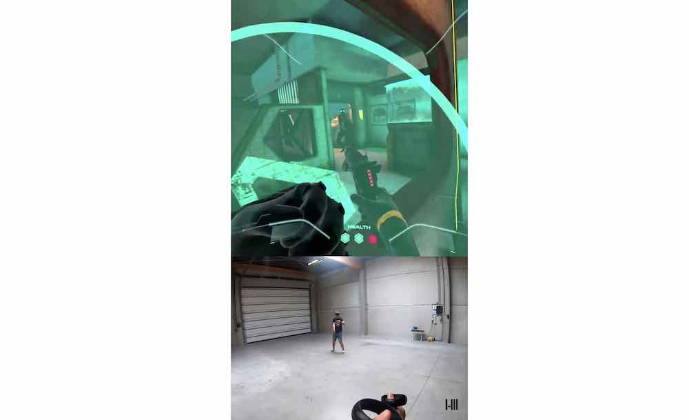 Space Pirate Trainer Arena bietet einen lokalen Multiplayermodus für Oculus Quest, der auf lagerhallengroße Spielbereiche ausgelegt ist.