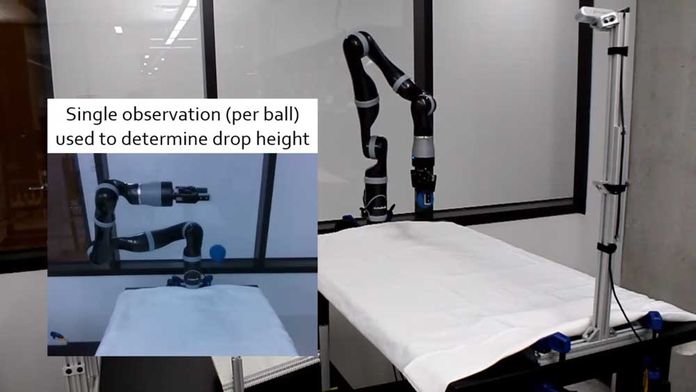 TuneNet lernt anhand eines Videos das physikalische Verhalten eines echten Balls und optimiert dazu passend die Physik-Vorhersagen eines Roboterarms, der nur in einer Simulation trainiert wurde. Bild: Allevato et al.