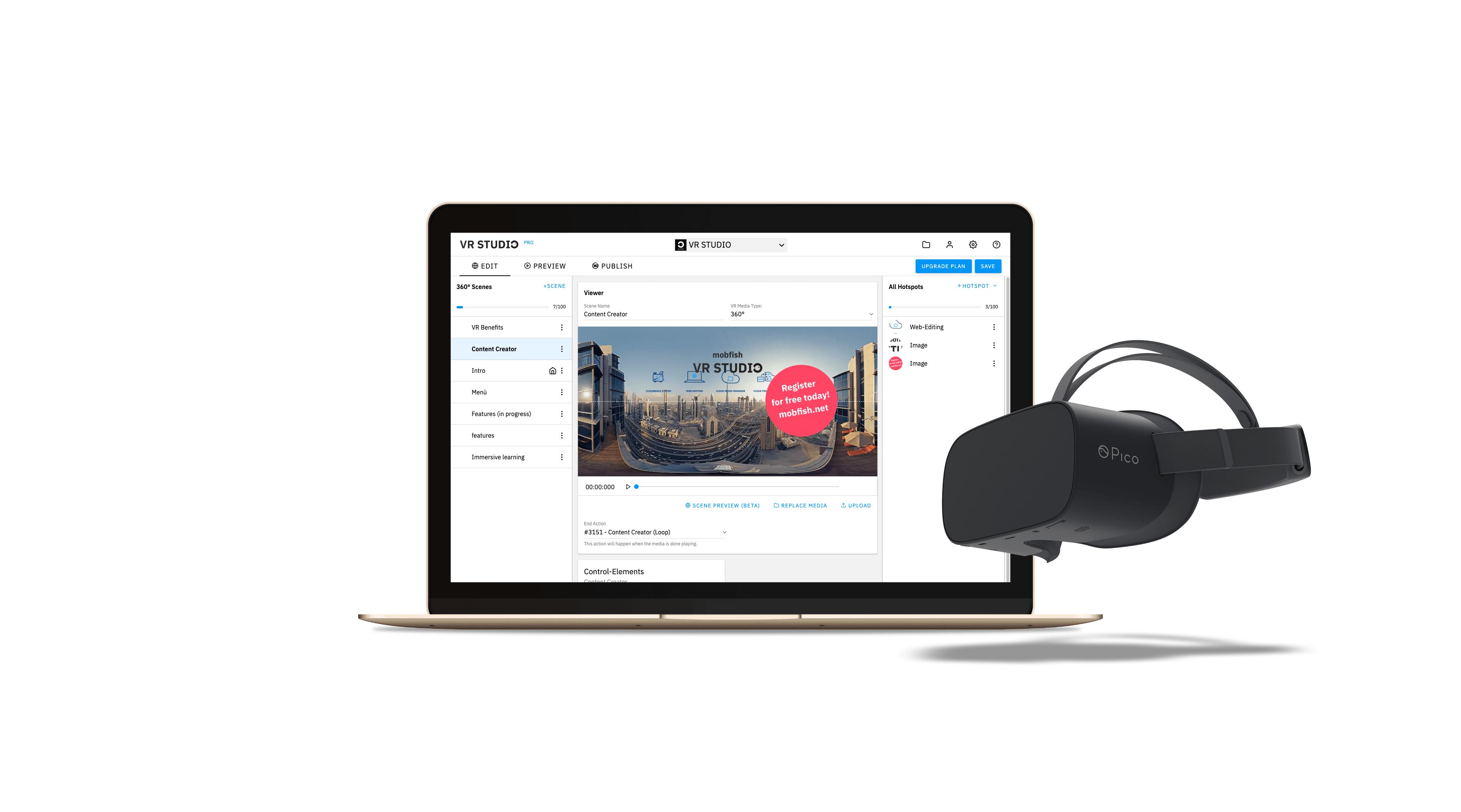Promo-Bild mobfish VR Studio zur Entwicklung von Web-Apps