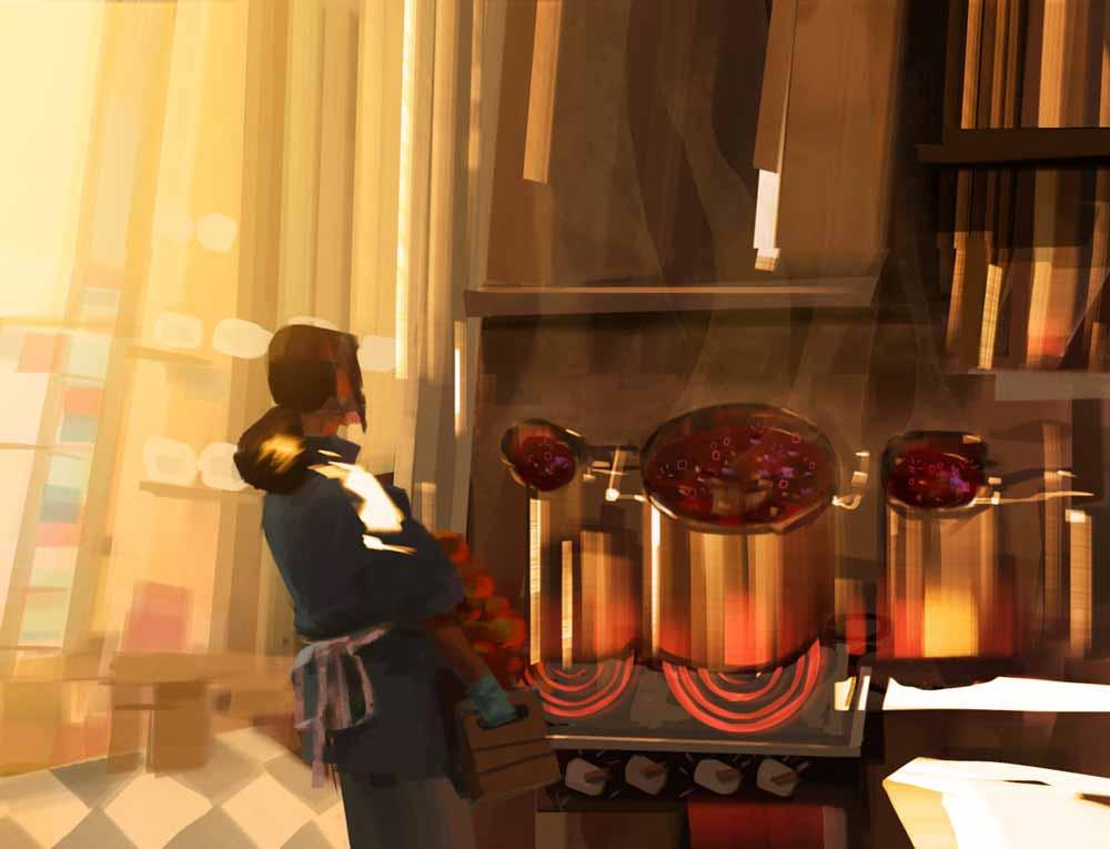 Lucys Mutter verliert sich in der Küche ... Bild: Fable Studios