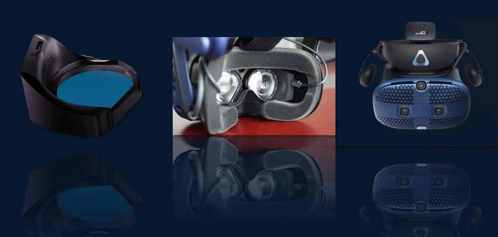 Das Eye-Tracking-Modul muss händisch in die VR-Brille eingebaut werden. Bild: 7invensun