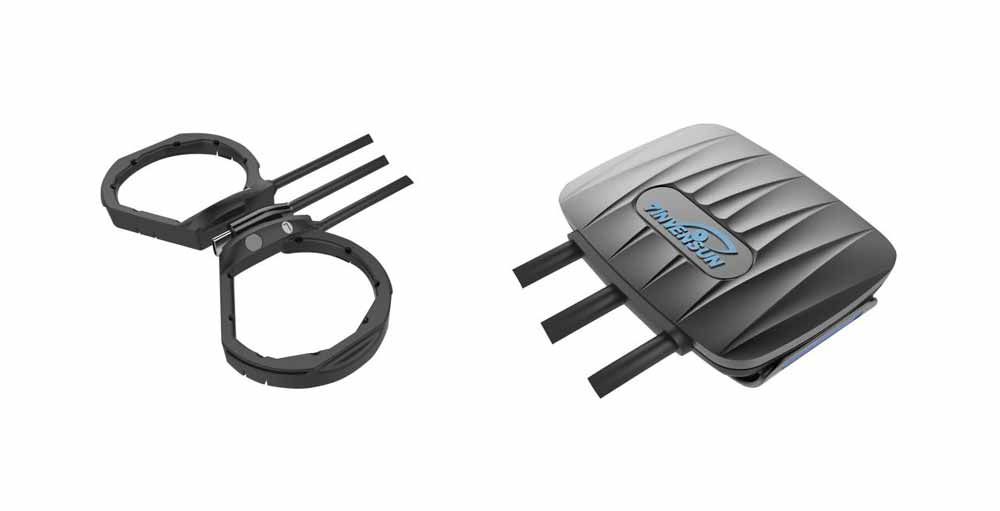 Links das Eye-Tracking-Modul, das in die VR-Brille eingesetzt wird, rechts die Prozessorbox, die am Kopfband befestigt wird. Bild: 7invensun