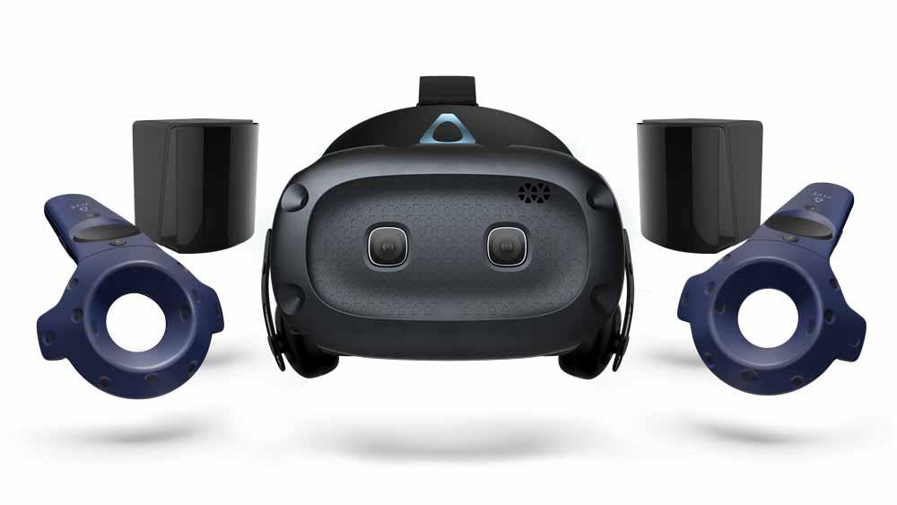 Die SteamVR-Blende macht Vive Cosmos wie die Vorgängerbrillen mit Valves Trackingsystem Lighthouse kompatibel. Bild: HTC
