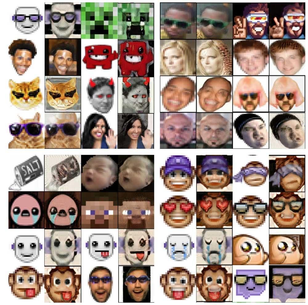 Gesichter rechnet die KI anständig hoch, Smileys führen zu seltsamen Ergebnissen. Bild: Fly
