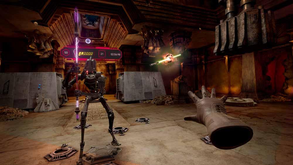 Im neuen Dojo könnt ihr das Lichtschwert oder Steine schleudern. Bild: Disney