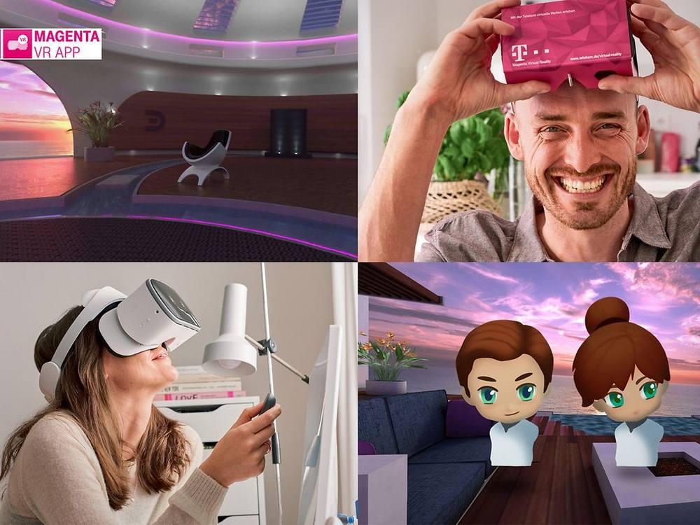 Magenta VR Promobild mit Leuten mit VR-Brille und Avataren