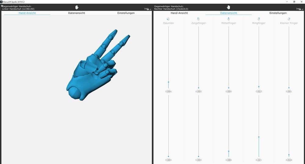 Apollo-Software Datenfenster für Manus Prime Haptic VR-Handschuhe