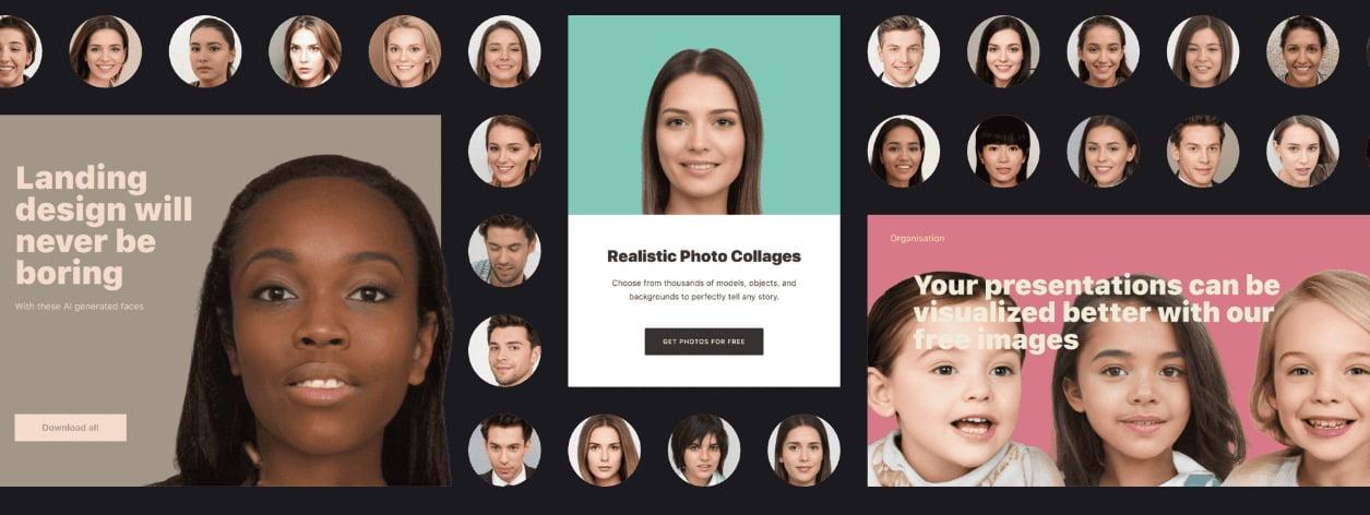 Der Menschbaukasten für Webseiten und Werbekampagnen. Bild: Generated Photos / Screenshot der Webseite