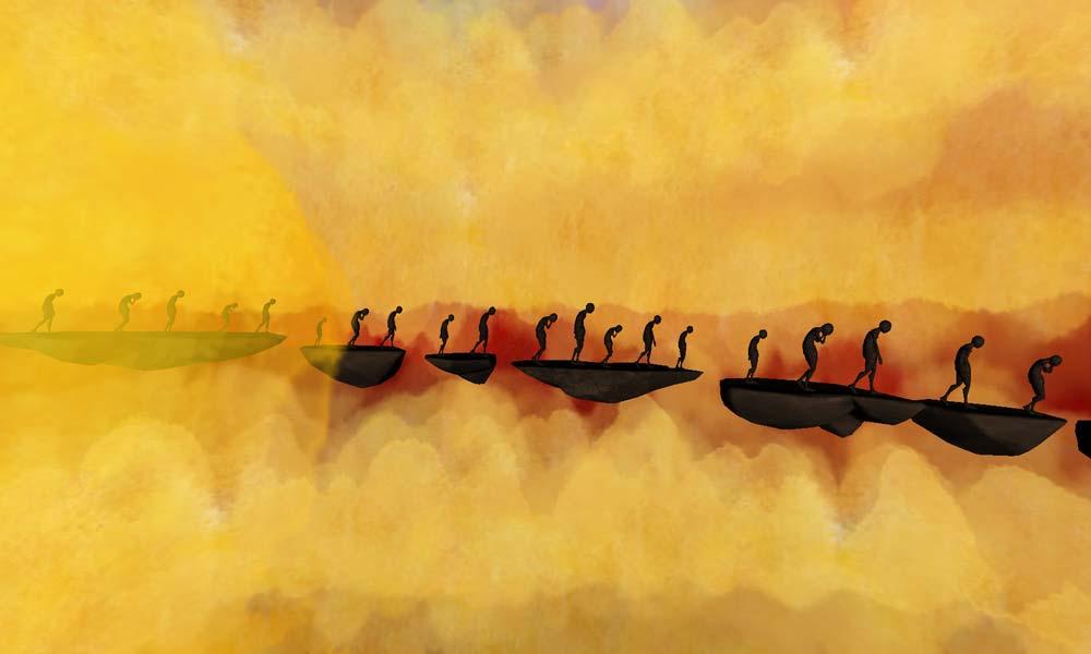 Gebeugte Gestalten warten endlos. Bild: Lucid Dreams Productions