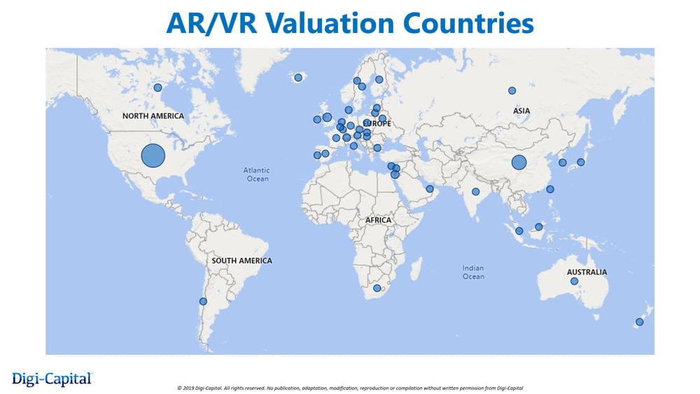Die USA und Asien dominieren den XR-Markt. Bild: Digi-Capital