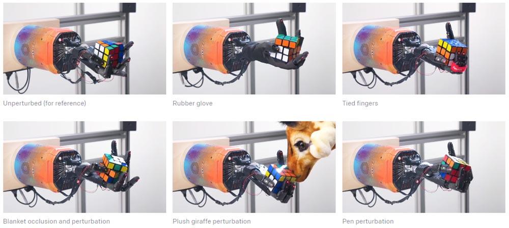 Die automatisierte Randomisierung der Trainingsumgebung hat die Roboterhand-KI Dactyl robust gemacht gegen Störungen. Selbst der hinterhältige Angriff einer Plüschgiraffe (Mitte unten) kann ihr nichs anhaben. Bild: OpenAI