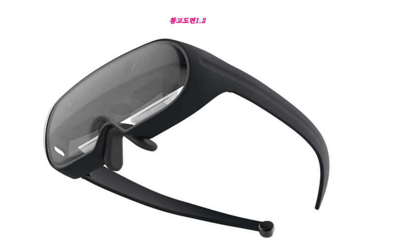 Das Design-Patent enthält ein 3D-Rendering der Samsung-Brille. Für eine reine Smartphone-Brille wirkt sie etwas zu klobig. Zwei Kameras für Raum- oder Fingertracking sind in der Vorderseite eingelassen. Bild: Samsung