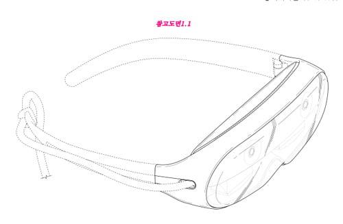 Samsungs AR-Brille bietet offenbar eine Kabelverbindung an zu einem Zuspieler. Zumindest sieht das Design ein Kabel vor. Bild: Samsung