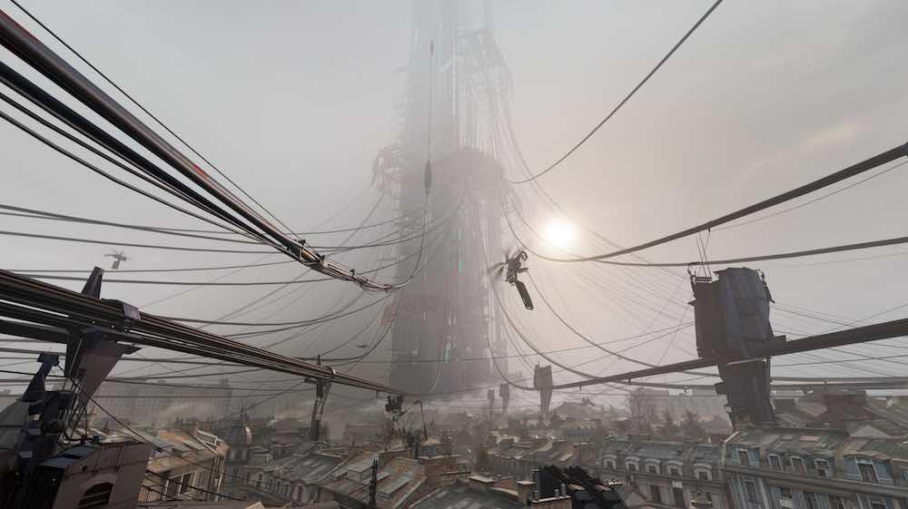Cyberpunkige Aussicht im Nebel auf City 17 in Half Life: Alyx