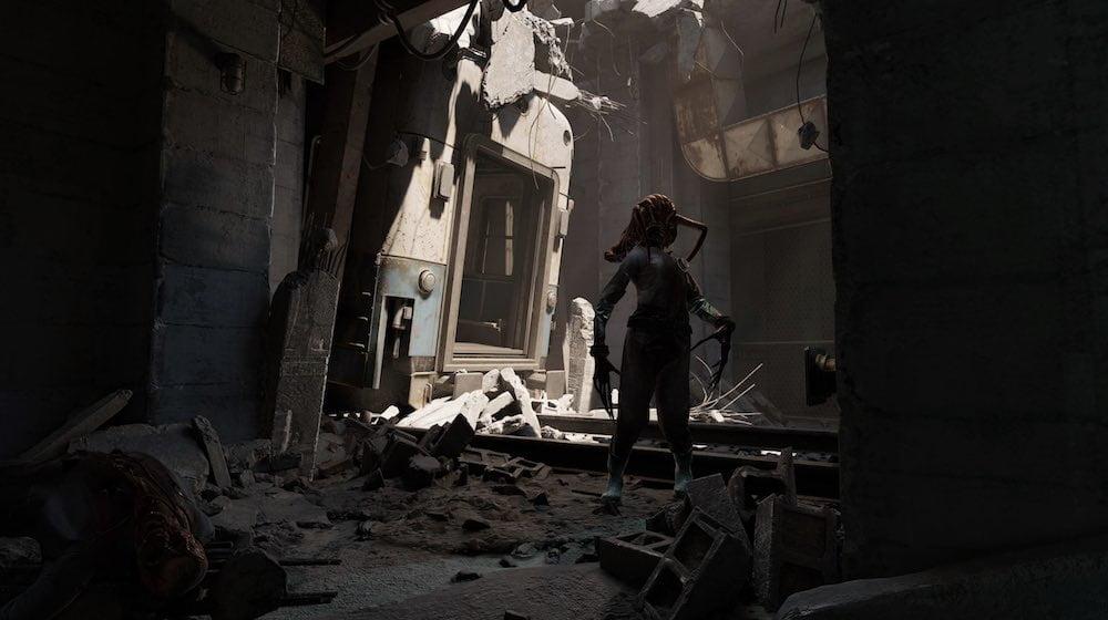 Düstere Szene in Half-Life: Alyx mit einem von einer Headcrab befallenen Zombie.