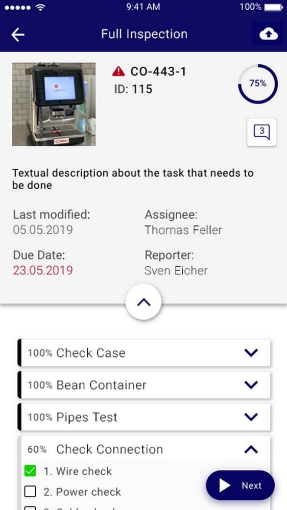 Digitale Checkliste der AR-App Inspect AR