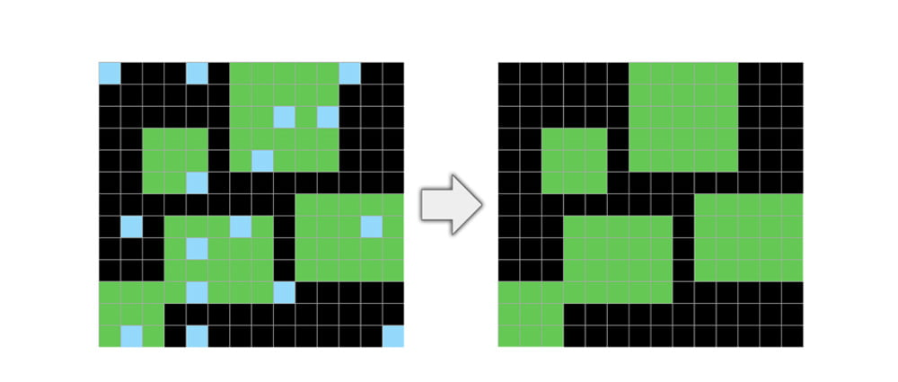 In diesem Test muss Pixelschmutz entfernt werden. Bild: Chollet.