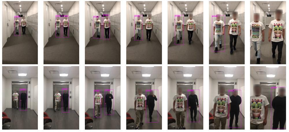 Dank bedruckten T-Shirt ist ein Forscher unsichtbar für eine KI, die Personen erkennt. Bild: Xu et al.