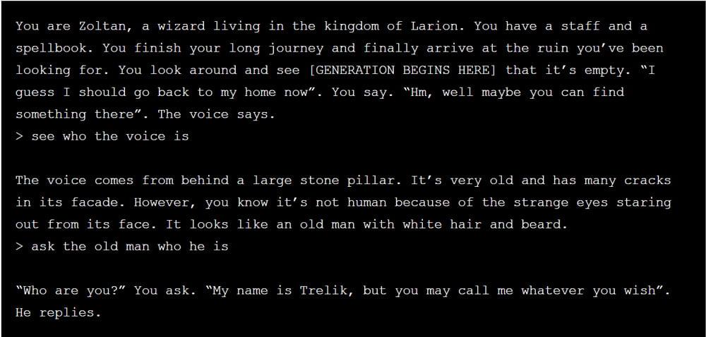 Wenn OpenAIs Text-KI mal einen Lauf hat, entstehen durchaus glaubhafte RPG-Dialoge. Bild: AI Dungeon