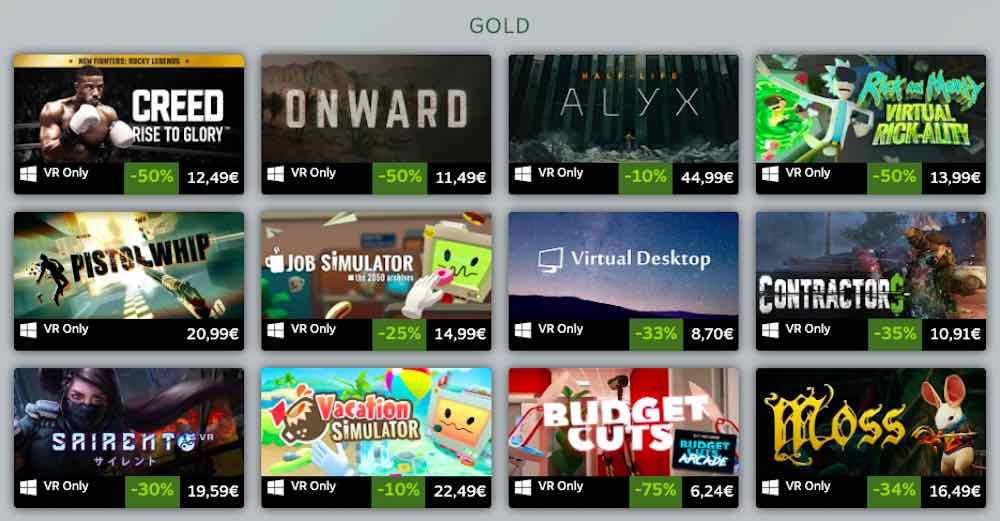 Erfolgreichste Steam VR Spiele 2019 Gold