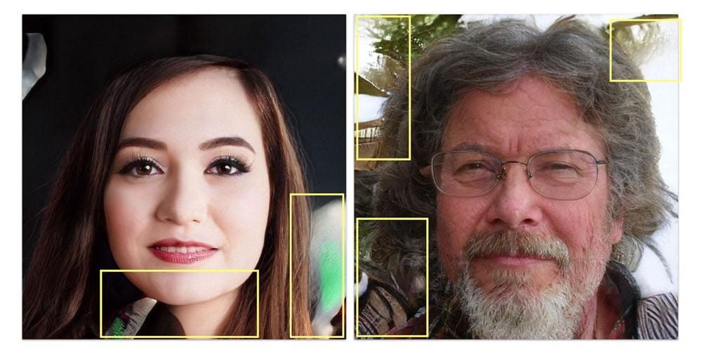 """Profilbilder von """"Mary Keen"""" und """"Jacobs Guillermo"""". Beide waren Admins von gesperrten Gruppen. Beide Fotos sind KI-generiert. Bild: Graphika."""