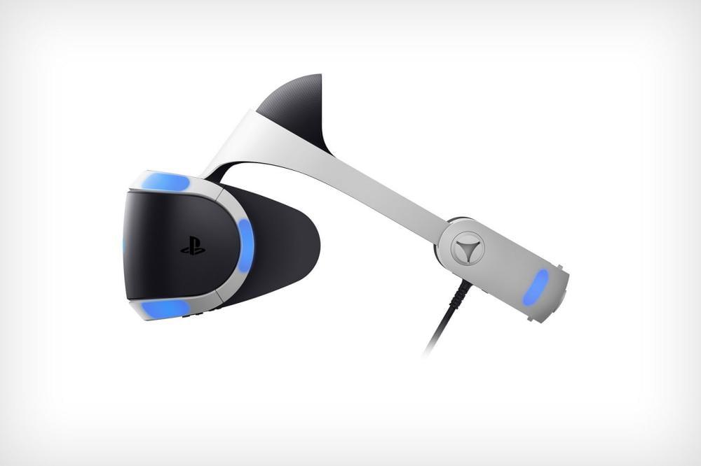 VR-Brille PlayStation VR von der Seite.