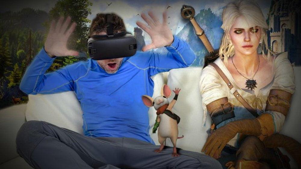 Mann mit VR Brille und Ciri aus The Witcher sowie der Maus Quill aus Moss