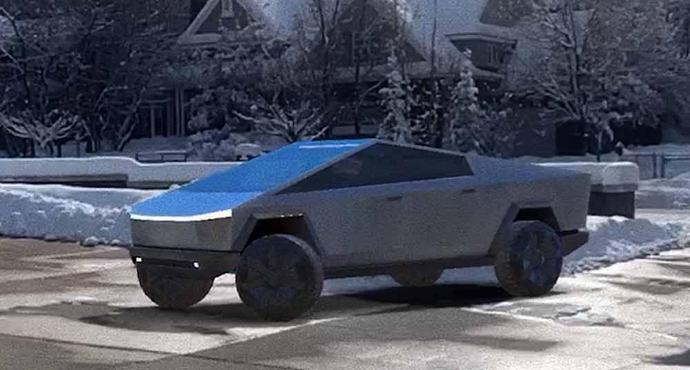 Mit der AR-App könnt ihr Teslas Cybertruck wie ein ferngesteuertes Auto digital durch die Umgebung steuern. Bild: Tesla Raj