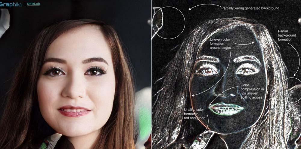 Noch lassen sich Deepfake-Porträts recht einfach an offensichtlichen Bildfehlern entlarven. Allerdings wird die Technik rasant besser. Bild: Graphika