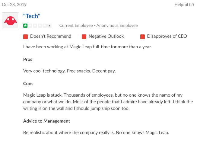 Bei Glassdoor melden sich unzufriedene Magic-Leap-Angestellte. Bild: Screenshot