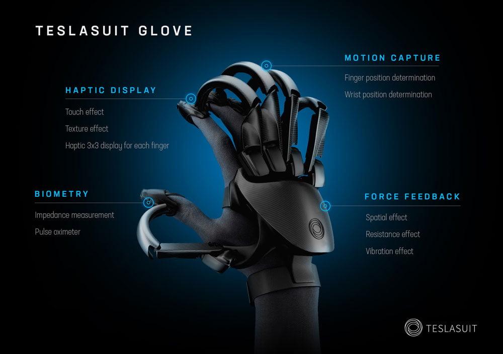 Im Vergleich zu anderen Haptik-VR-Handschuhen wirkt der Teslasuit Glove noch recht kompakt gebaut. Bild: Teslasuit