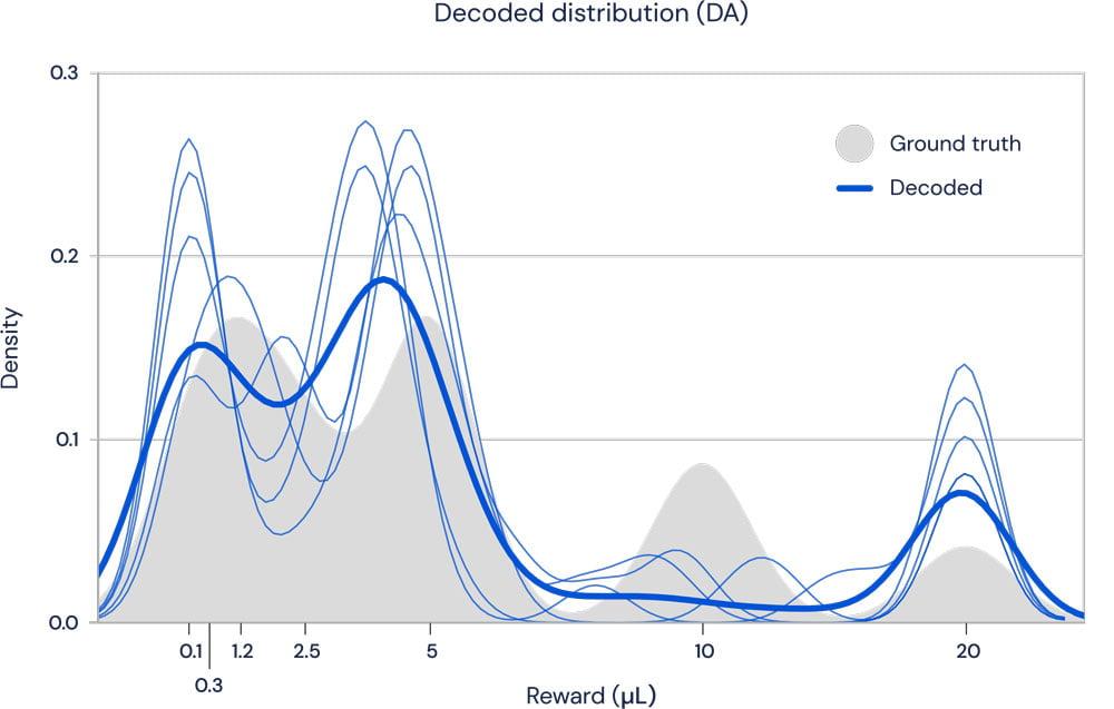 Die Aktivität der Dopaminzellen (blau) deckt sich mit der erlernten Belohnungsverteilung (grau). Bild: Deepmind.
