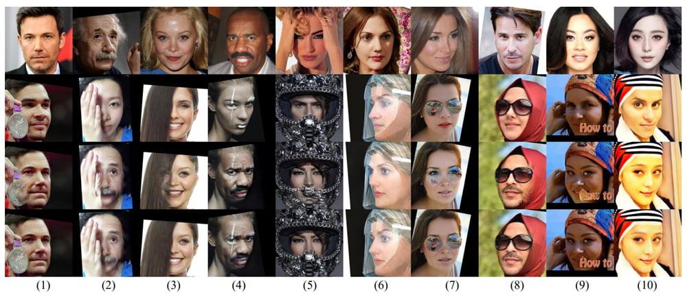 Die KI erkennt Verdeckungen wie Haare, Masken oder Schriftzüge und perfektioniert so die Fälschung. Bild: Li et al.