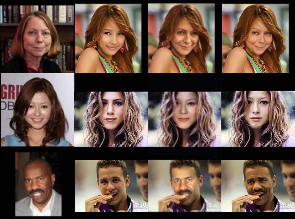 FaceShifter (ganz rechts) kann auch unscharfe Bilder zu glauwürdigen Fakes verarbeiten und hängt so auch FSGAN (zweites von rechts) ab. Bild: Li et al.