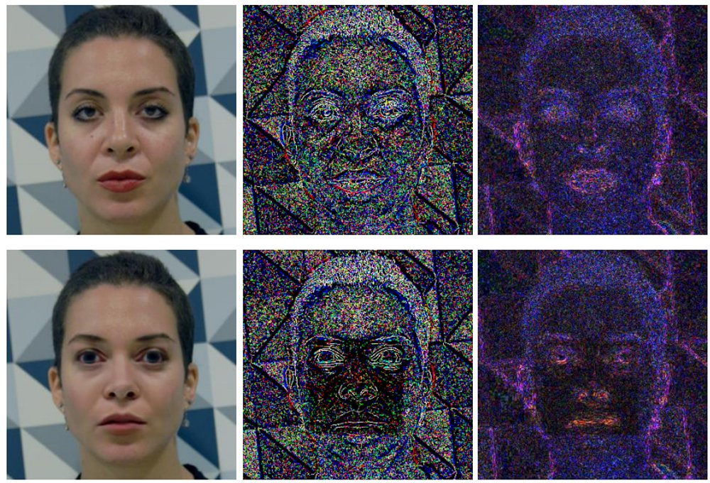 Oben Original unten Fake. Der Deepfake ist in durch die Filter deutlich zu erkennen. Bild: Li et al.