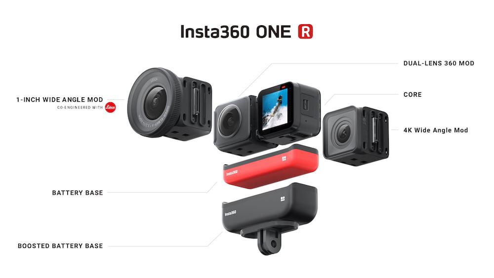 Insta360 stellt eine modulare Actionkamera mit drei Wechselobjektiven vor: die Insta 360 R.