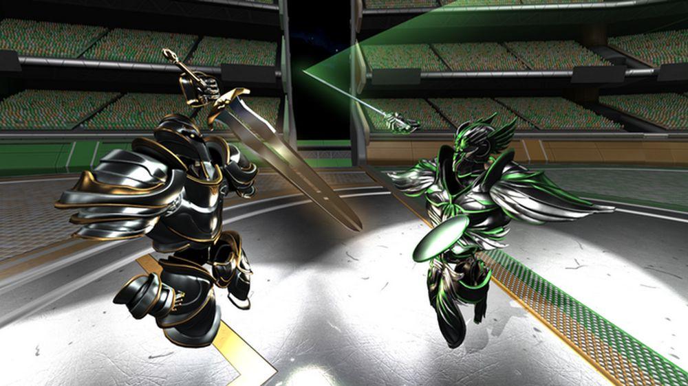 Zwei Avatare kämpfen mit Schwertern in einer Arena im VR-Spiel Ironlights