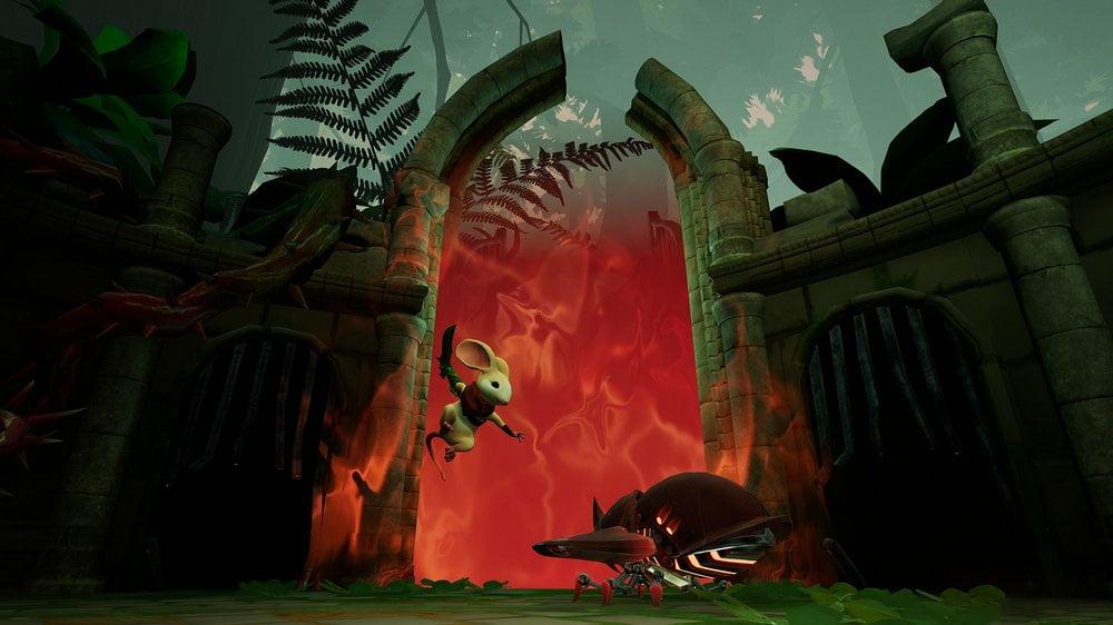 Maus Quill springt im VR-Hit Moss vor einem Portal mit Schwert auf Metallkäfer zu